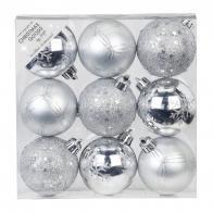 Фото Набор ёлочных шаров inge's christmas decor 81191g002 d 6 см, серебро (9 шт)