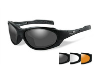 Фото очки xl-1 ad с матовой черной оправой и дымчатыми/прозрачными/светло-рыжими линзами.