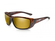 Фото очки kobe с глянцевой древесно-коричневой оправой и поляриз.янтарно-золотыми линзами с зеркальн.покр