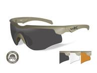Фото очки rogue comm с песочно-коричневой оправой и дымчато-серыми/прозрачными/рыжими линзами.