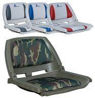 Фото сиденье с виниловыми подушками, серое с синим