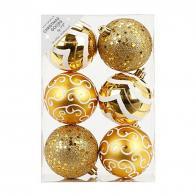 Фото Набор ёлочных шаров inge's christmas decor 81075g001 d 8 см, золотой (6 шт)