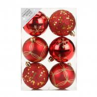 Фото Набор ёлочных шаров inge's christmas decor 81075g003 d 8 см, красный (6 шт)
