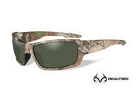 Фото очки rebel с оправой камуфляжного цвета, с поляризованными зелеными линзами.
