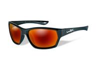 Фото очки moxy с глянцевой черной оправой и поляризованными кармазиновыми линзами с зеркальным покрытием.