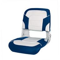 Фото сиденье пластмассовое складное с подложкой all weather high back seat, бело-синее