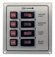 Панель выключателей с предохранителями, 4 клавиши, белая
