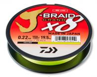 Фото Леска плетеная daiwa j-braid grand x8 135м 0,24мм (22кг) желтая
