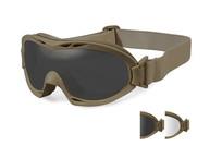 Фото очки-маска nerve с песочно-коричневой оправой и дымчатыми/прозрачными линзами.